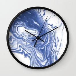 Iwao - indigo blue monochromatic spilled ink japanese paper marble trendy hipster minimal painting Wall Clock