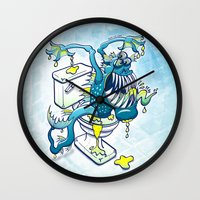 toilet Wall Clocks featuring Toilet Monster by Zoo&co on Society6 Products