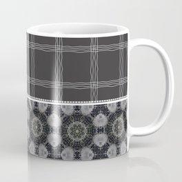 Wavy Plaid Pattern Black and Grey Mandala Tile Coffee Mug