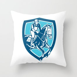 Equestrian Show Jumping Shield Retro Throw Pillow