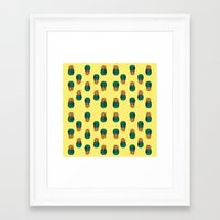 pineapples Framed Art Prints featuring PINEAPPLES by Heaven7
