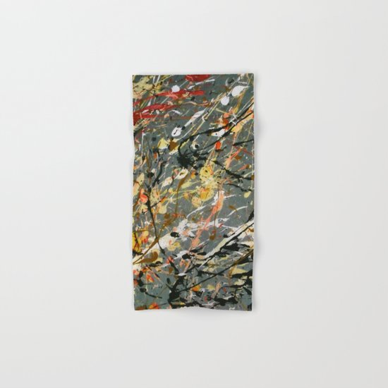Jackson Pollock Interpretation Acrylics On Canvas Splash Drip Action Painting Hand & Bath Towel