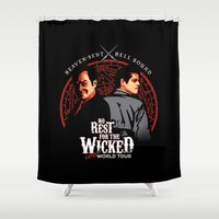 crowley Shower Curtains featuring No Rest for the Wicked by Manny Peters Art & Design