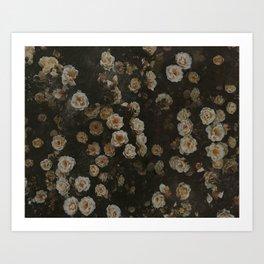 Midnight Dark Floral Grunge Art Print