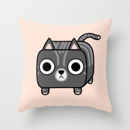 Cat Loaf - Grey Tabby Kitty Throw Pillow