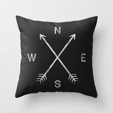 compass - Black And White Decorative Pillows