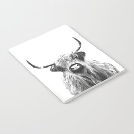 Black and White Highland Cow Portrait Notebook