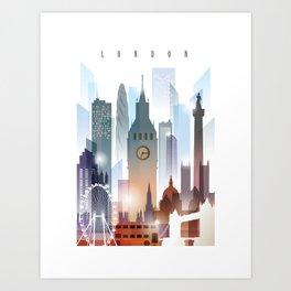 London city skyline, United Kingdom Art Print