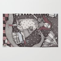 christian Area & Throw Rugs featuring Alice's First Snow by Judith Clay