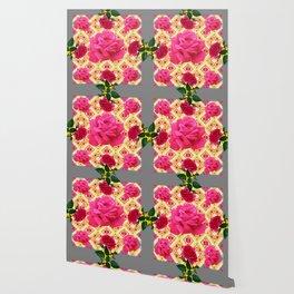 PINK GARDEN ROSES PATTERN  GREY ABSTRACT Wallpaper