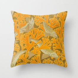 Vintage Art Deco Fish and Yellow Coral Design Throw Pillow