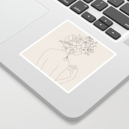 Woman with Flowers Minimal Line II Sticker