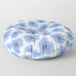 Pattern design with blue decorative flowers. Floor Pillow