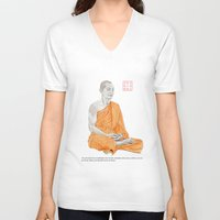 buddha V-neck T-shirts featuring Buddha by Bryan James