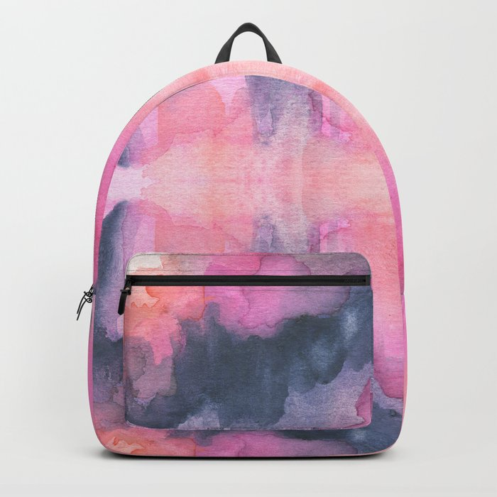Abstract watercolor Orange Pink Backpack
