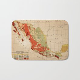 Vintage Geological Map of Mexico (1921) Bath Mat
