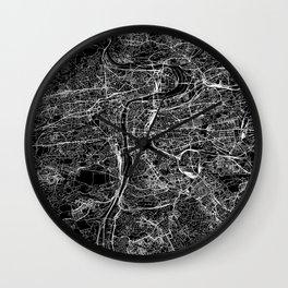 Prague Black Map Wall Clock