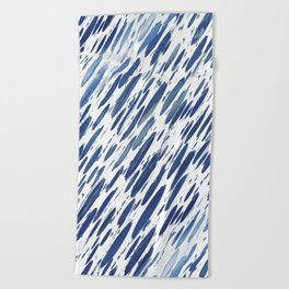 Boho Blue Brushstroke Beach Towel