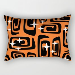 Mid Century Modern Cosmic Galaxies 435 Black and Orange Rectangular Pillow