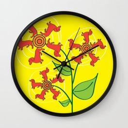 Doxie Flower Wall Clock