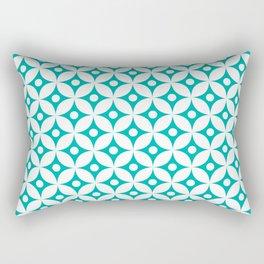 Turquoise and white elegant tile ornament pattern Rectangular Pillow