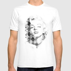 Marilyn Monroe Black and White Checkered MEDIUM White Mens Fitted Tee