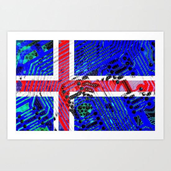 circuit board Flag (iceland) Art Print