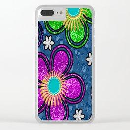Glitter Flowers Clear iPhone Case