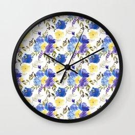 Pastel yellow blue lavender watercolor elegant floral Wall Clock