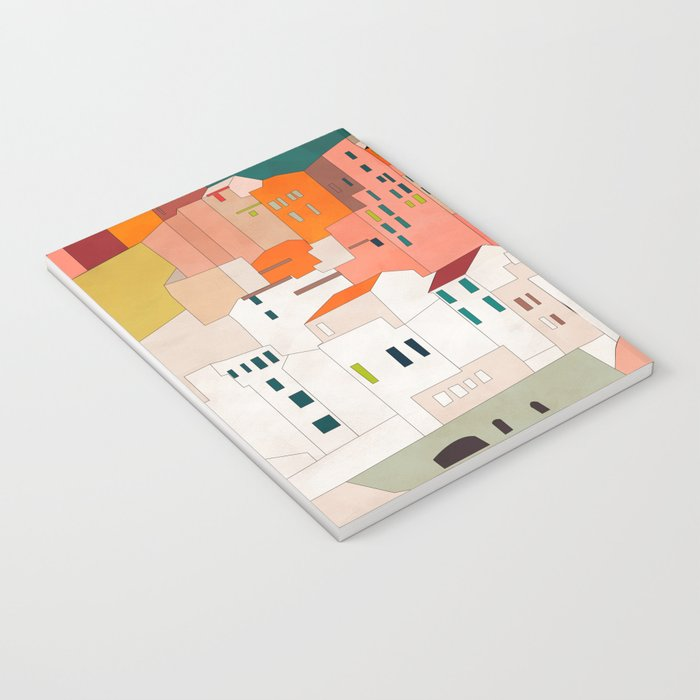 italy coast houses minimal abstract painting Notebook