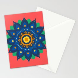 Coral Red Mandala Stationery Cards