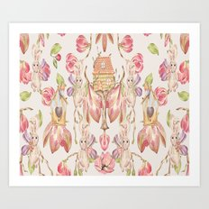 Bunny Bird Love - Bagaceous Art Print
