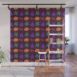 Happy halloween pumkins,web,spiders and graves pattern Wall Mural