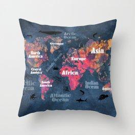 world map 115 #worldmap #map Throw Pillow