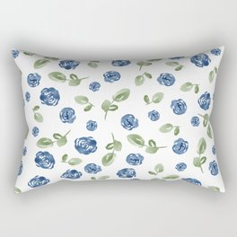 Blue Florals // Hand Painted Watercolors // Deep Blue and Leaf Green Rectangular Pillow