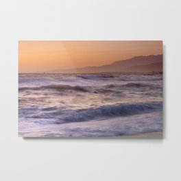 Strong waves. Sunset at the beach Metal Print