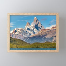 Lake and Andes Mountains, Patagonia - Argentina Framed Mini Art Print