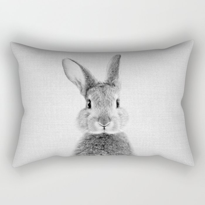 Rabbit - Black & White Rectangular Pillow