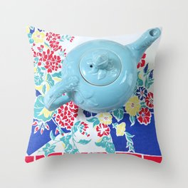 Teapot Blues Throw Pillow