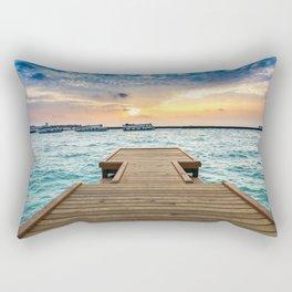 Wooden Jetty At Dusk Ultra HD Rectangular Pillow