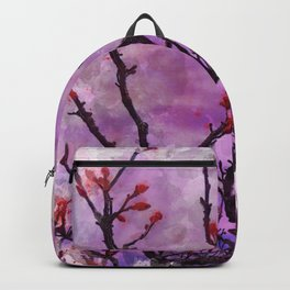 Dark Branches With Red Buds Watercolor Backpack