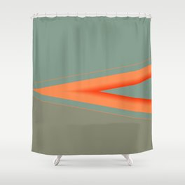 Army Green Orange Stripe Shower Curtain