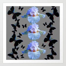 BLACK BUTTERFLIES & PASTEL IRIS MODERN ART DESIGN Art Print