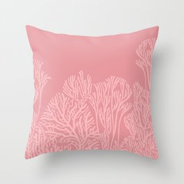 Dusty Pink Coral Garden Throw Pillow