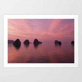 Halong Bay at Sunset Art Print