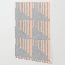 Blush stripes on concrete Wallpaper