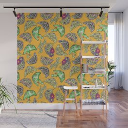 """""""Oro?"""" Cactus with Flower Mustard Wall Mural"""