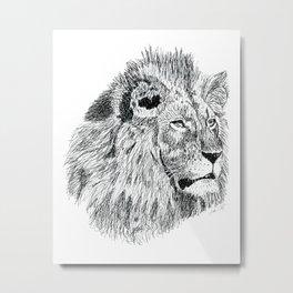 Lion Ink Drawing Metal Print