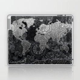 world map mandala black and white 3 Laptop & iPad Skin