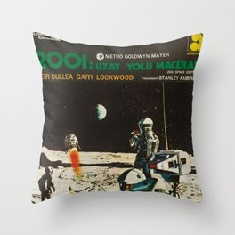 2001 A Space Odyssey 1968 Turkish Lobby Broadside Vintage Film Poster Throw Pillow